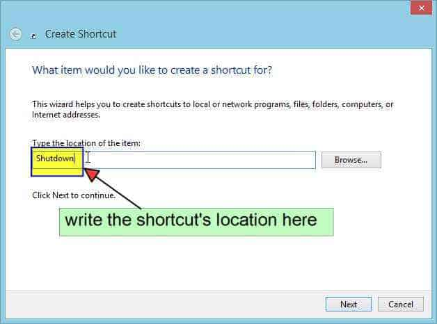 Shortcut's location