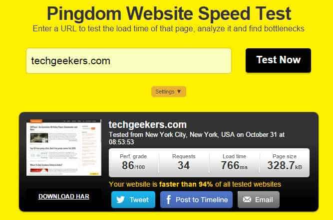 Pingdom techgeekers speed test