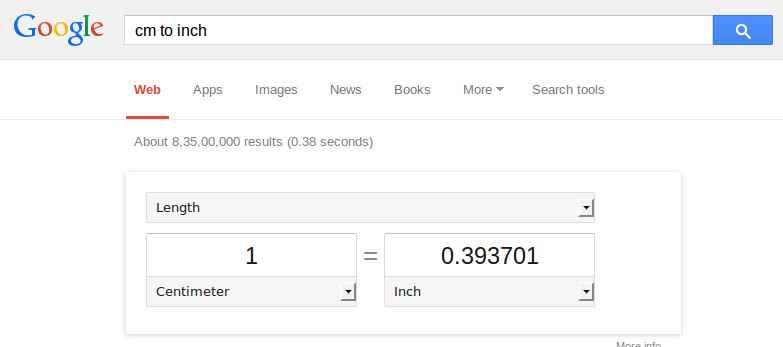 Google Unit Conversion