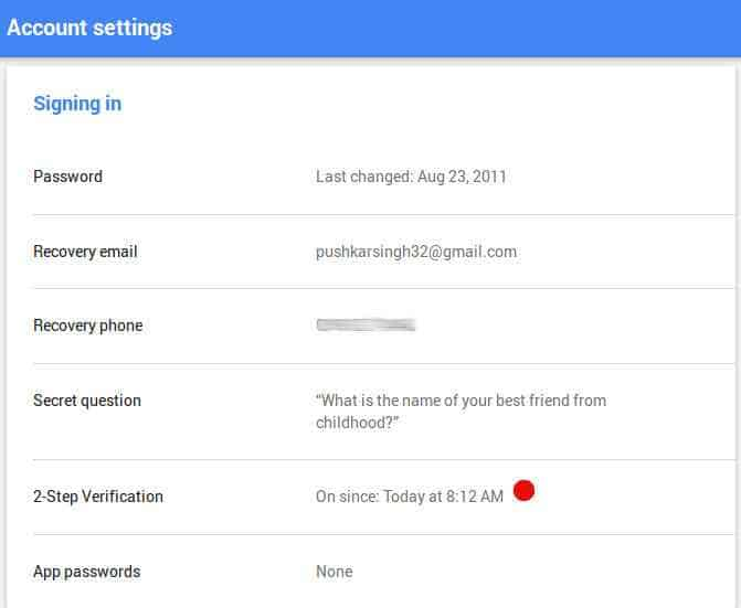 Google other account setting page