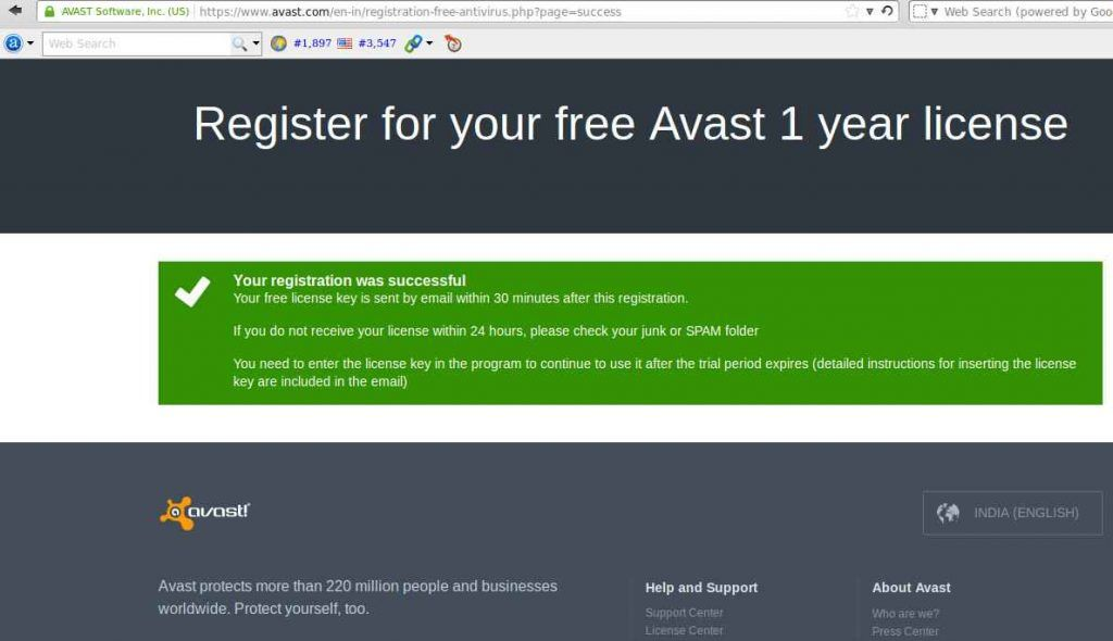 Successful avast registration
