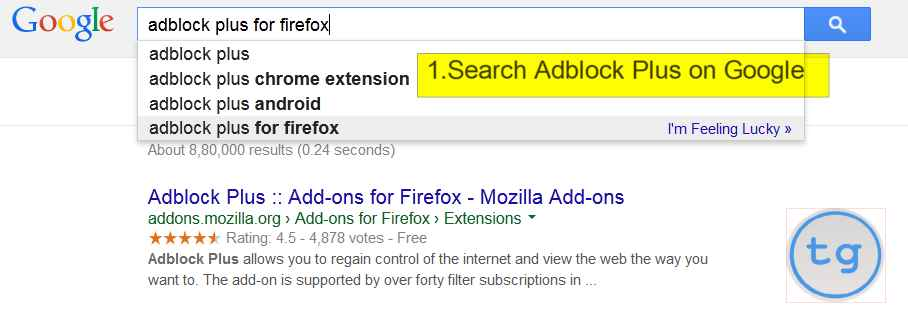 search Adblock on Google
