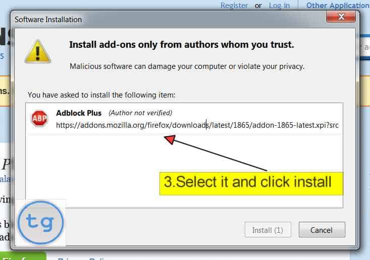 select Adblock Plus and click install