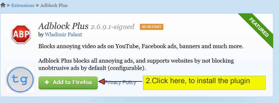 Click on Adblock Plus