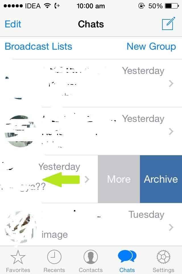Archieve messages swipe left- hide chats on whatsappp