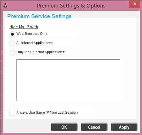 Hide My Ip premium settings and options