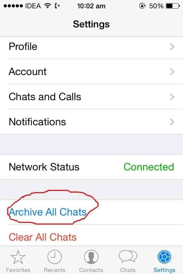 How to hide or archieve all conversation on whatsapp