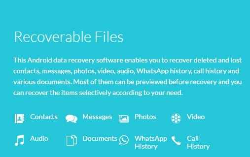 Recoverable files through wondershare android recovery tool