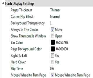 Flash Display setting for flipbook