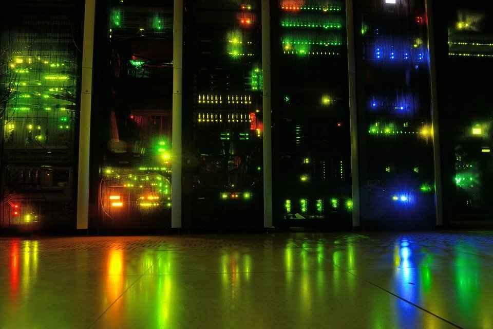 Server, Room, Datacenter, Network, Leds, Night