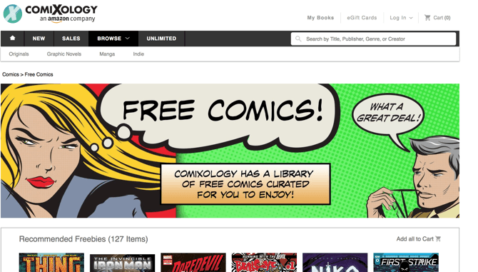 Free comics at Comixology