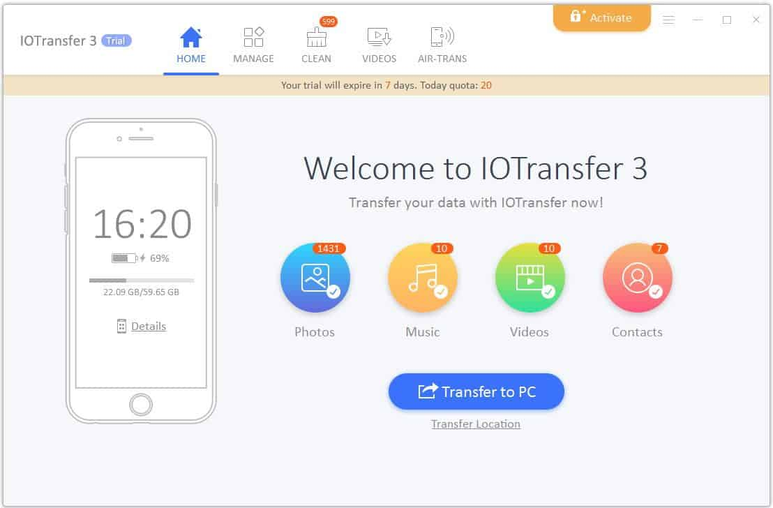 iotransfer 3 welcome screen
